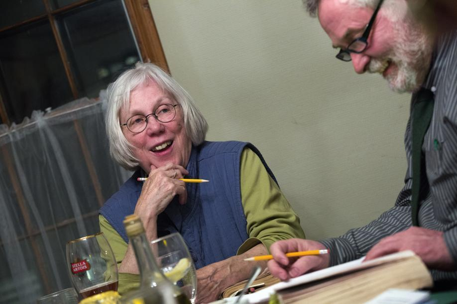 Karen Moore of Arlington (left) and Cahal Stephens of Cambridge at the book group.